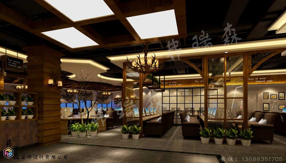 世纪风网吧设计大厅效果图