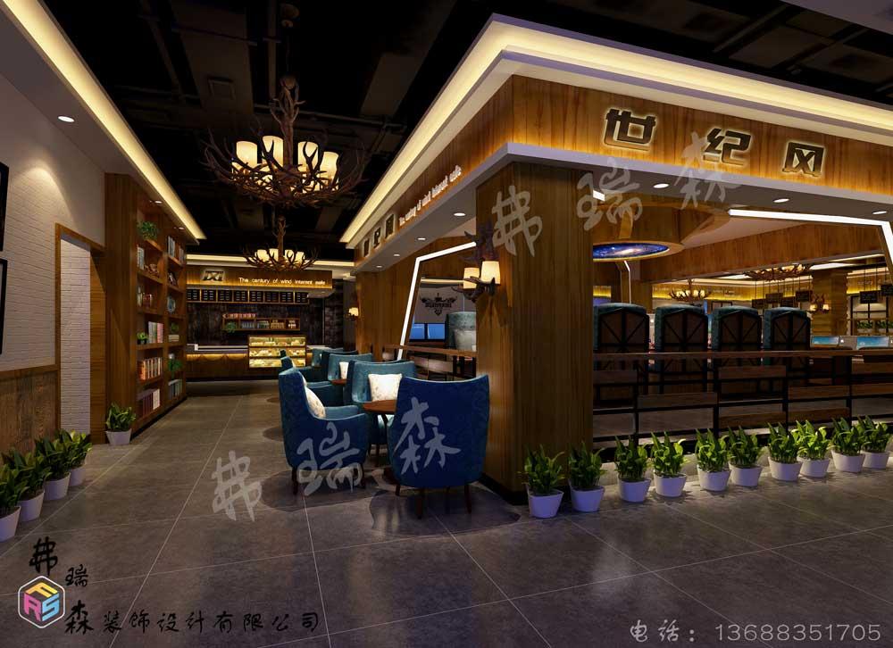 世纪风网吧大厅游戏区装修效果图