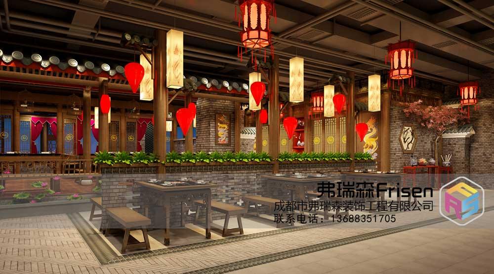 武汉火锅店就餐区装修设计效果图